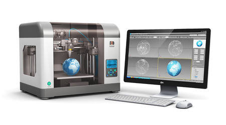 object printing: Creative 3D ABS plastic printing technology business concept: modern 3D printer and professional desktop workstation computer PC with 3D design software interface isolated on white  Stock Photo