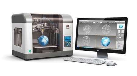 impresora: Creativo 3D ABS tecnolog�a de impresi�n de pl�stico concepto de negocio: la impresora 3D moderno y profesional trabajo de la computadora de escritorio PC con interfaz de software de dise�o 3D aislado en blanco Foto de archivo