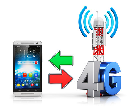 4g: Creative abstract 4G digital cellular telecommunication technology and wireless connection business concept: modern touchscreen smartphone and mobile base station or TV transmitter antenna pylon with 4G sign, symbol or logo isolated on white background wi