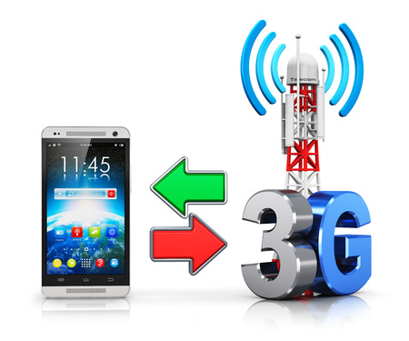 Creative abstract 3G digital cellular telecommunication technology and wireless connection business concept: modern touchscreen smartphone and mobile base station or TV transmitter antenna pylon with 3G sign, symbol or logo isolated on white background wi photo
