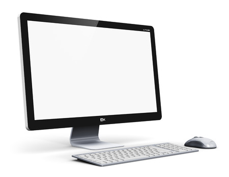 Creative abstract office business technology communication internet concept: modern professional desktop computer PC workstation with blank screen or empty monitor, keyboard and mouse isolated on white background