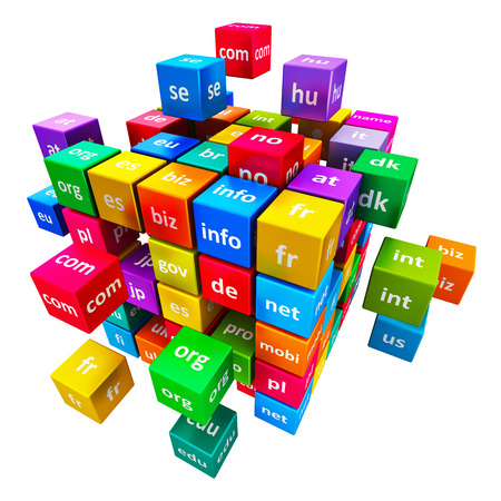 Creative abstract global internet communication PC technology and web telecommunication business computer concept: group of color cubes with domain names isolated on white background Stock Photo