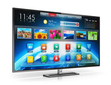 Creative abstraktní digitální multimediální zábavu a média televizní vysílání internet business concept: inteligentní displej LCD TV se barva webovým rozhraním na bílém pozadí s odrazem účinkem