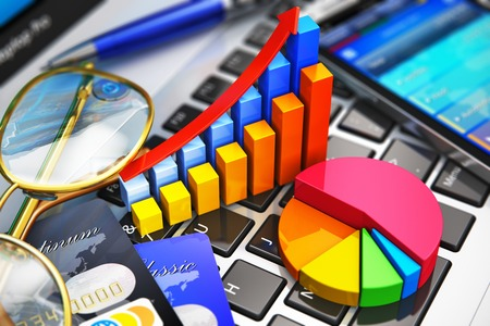 Mobile office work, stock exchange market trading, statistics accounting, banking development and financial analysis business concept
