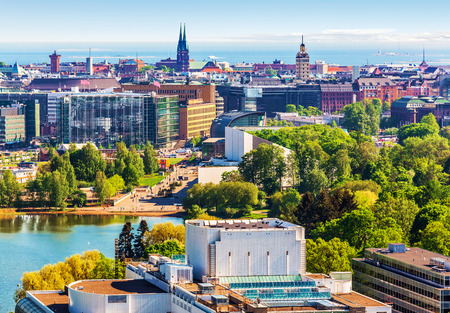 finland: Scenic summer aerial panorama of the Old Town architecture in Helsinki, Finland
