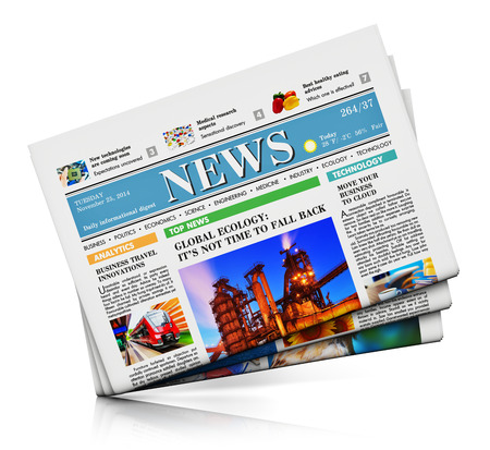 Heap of newspapers with business news isolated on white background with reflection effect photo