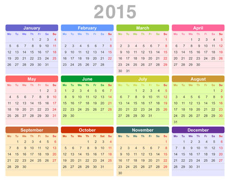 Color vector illustration of 2015 year annual calendar (Monday first, English) Vector