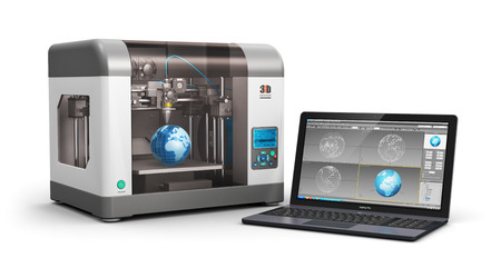 Creative 3D ABS plastic printing technology business concept: modern 3D printer and professional laptop PC or workstation notebook computer with 3D design software interface isolated on white background
