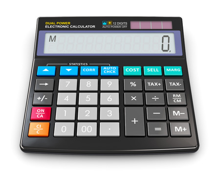 reckon: Creative abstract finance, accounting, tax and corporate success concept: black modern office business financial digital electronic calculator with statistics functions and dual solar power isolated on white background Stock Photo
