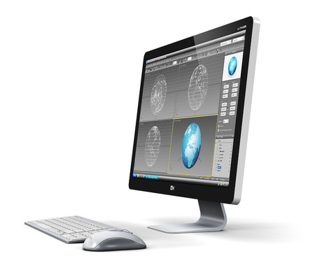 Creative abstract modern 3D design technology business concept: professional desktop workstation computer PC with 3D development software interface on monitor screen, keyboard and mouse isolated on white background