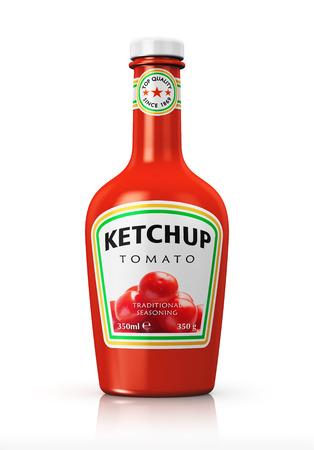 Kunststoff-Flasche mit Tomaten-Ketchup isoliert auf weißem Hintergrund mit Reflexion Wirkung