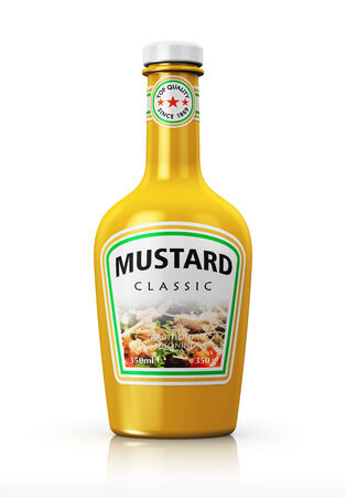 mustard: Plastic bottle with yellow mustard isolated on white background with reflection effect