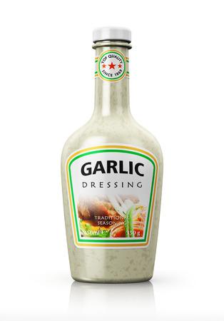 mayonnaise: Plastic bottle with garlic dressing isolated on white background with reflection effect Stock Photo