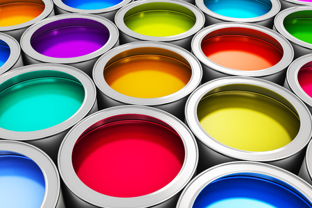 painting and decorating: Abstract creativity concept: group of tin metal cans with color paint dye