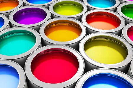 colorido: Resumen concepto de creatividad: grupo de latas de metal de estaño con tinte de color de la pintura