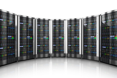background information: Row of network servers in data center isolated on white background with reflection effect