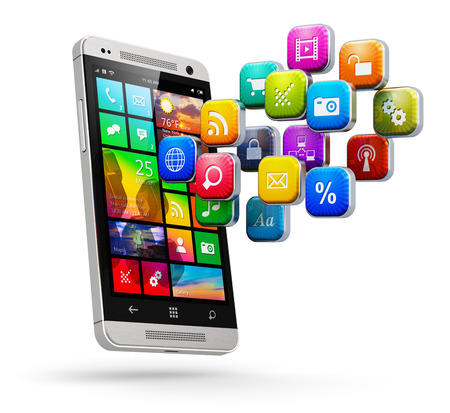 mobile app: Creative abstract mobile web applications, business software and social media networking service internet concept: modern black glossy touchscreen smartphone with cloud of color application icons isolated on white background