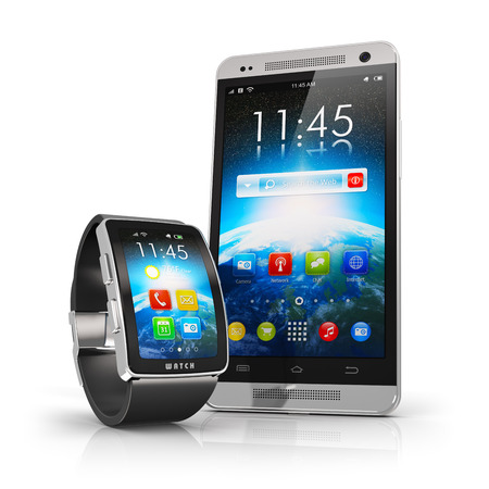 Creative mobile connectivity and business mobility wireless communication concept: smart watch or clock and touchscreen smartphone with color interface isolated on white background with reflection effect