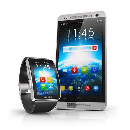 創造的なモバイル接続とビジネス移動無線通信の概念: 反射効果と白い背景で隔離の色インターフェイスとスマートな時計や時計、タッチ スクリー 写真素材