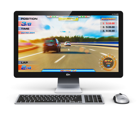 Creative abstract computer gaming en entertainment technologie concept: moderne zwarte gamer desktop PC met video game op een witte achtergrond Stockfoto