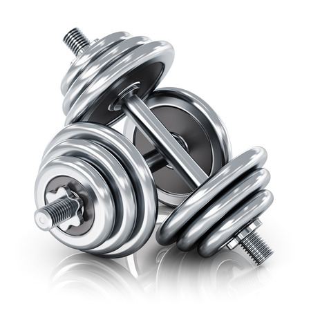 poise: Creative abstract sport, fitness and healthy lifestyle concept: group of two shiny stainless steel metal dumbbells isolated on white background with reflection effect