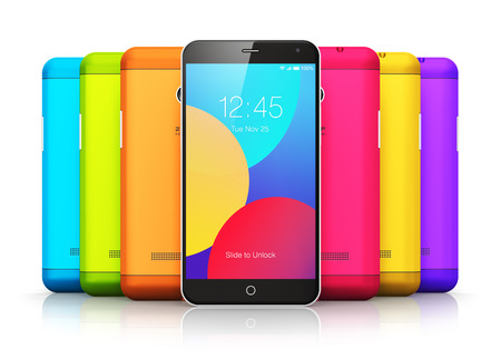 cover concept: Creative abstract mobile phone wireless communication technology and mobility business office concept: group of colorful modern metal black glossy touchscreen smartphones with color plastic back covers isolated on white background