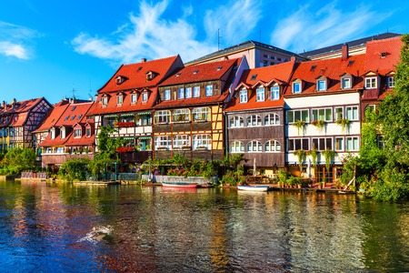 bayern old town: Scenic summer panorama of the Old Town pier architecture in Bamberg, Bavaria, Germany