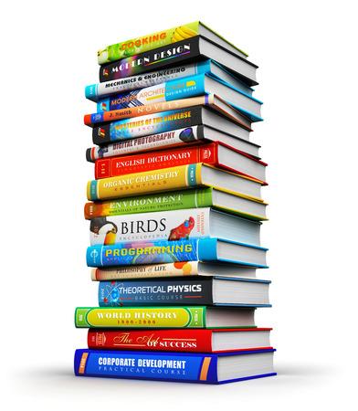 in a pile: alta pila o pila grande de libros de tapa dura de color aislados sobre fondo blanco Foto de archivo