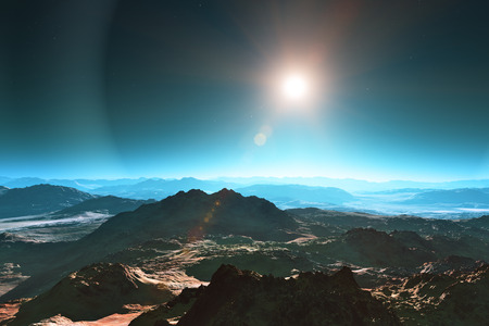 Abstract surrealistic space landscape of mountainous planet surface photo