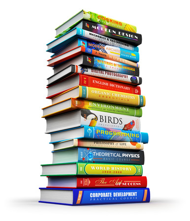 Creative abstract science, knowledge, education, back to school, business and corporate office life concept: big high stack or pile of color hardcover books isolated on white background