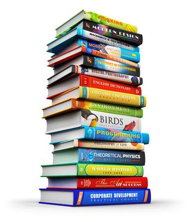 in a pile: Ciencia creativo abstracto, conocimiento, educaci�n, de nuevo a la escuela, los negocios y el concepto de la vida de oficina corporativa: gran alta pila o pila de libros de tapa dura de color aislados sobre fondo blanco