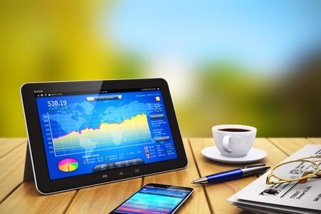 Twórczy abstrakcyjne biznesowych bankowości mobilnej komunikacji i bezprzewodowy internet pracy biurowej komputer internetowych i rachunkowości finansowej pojęcie sukcesu: nowoczesne czarny błyszczący tablet PC z kolorowym ekranem dotykowym interfejsem aplikacji na rynku giełdowym, newspa