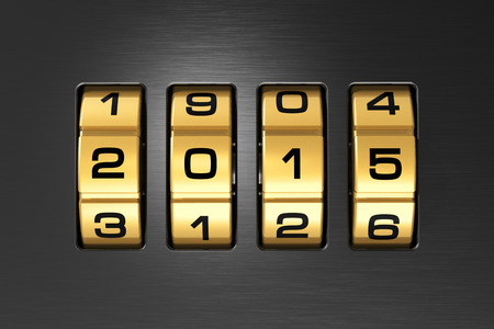 Creative abstract New Year 2015 concept: macro view of combination lock with 2015 code text photo