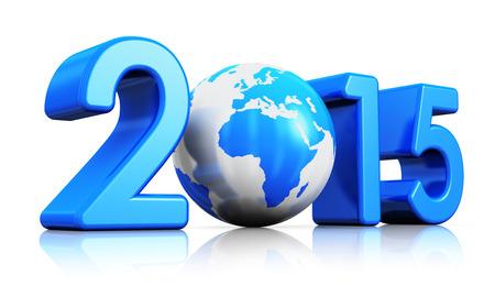 nouvel an: Creative abstraite nouvelle ann�e 2015 commence concept c�l�bration avec du bleu brillant globe terrestre isol� sur fond blanc avec effet de r�flexion