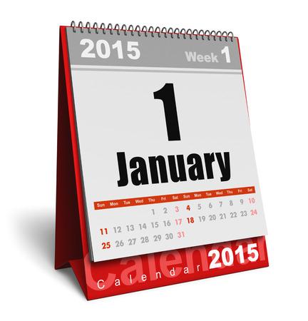 calendario escritorio: Creativo abstracto a�o nuevo 2015 que comienza celebraci�n concepto de negocio: escritorio de oficina rojo enero calendario 2015 mes aislado en fondo blanco