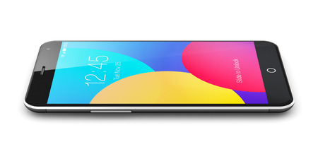 wireless communication: Creative abstract mobile phone wireless communication technology and mobility business office concept: colorful modern metal black glossy touchscreen smartphone with color screen interface isolated on white background