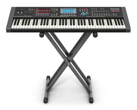 tocando piano: Instrumento creativo abstracto de m�sica electr�nica y el concepto de la creaci�n art�stica: profesional sintetizador digital musical negro piano en el soporte aislado en el fondo blanco