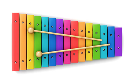 drum sticks: Creative abstract percussion musical instrument and music art creation concept: colorful rainbow wooden xylophone with two wood drum sticks isolated on white background Stock Photo