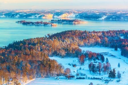 fjords: Scenery of winter sunset in Scandinavian fjords