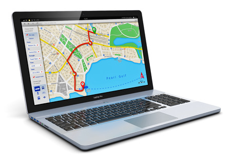 Creative abstract GPS satellite navigation, travel, tourism and location route planning business concept: modern black glossy laptop or notebook computer PC with wireless navigator map service internet application on screen isolated on white background photo