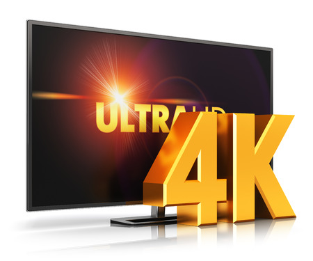 high definition: Creative abstract ultra high definition digital television screen technology concept: 4K UltraHD TV or computer PC monitor display screen isolated on white background with reflection effect