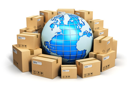 export import: Creative abstract global logistics, shipping and worldwide delivery business concept: blue Earth planet globe surrounded by heap of stacked corrugated cardboard boxes with parcel goods isolated on white background