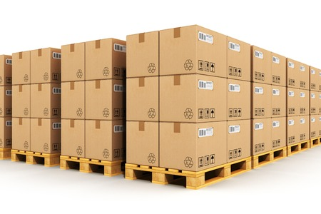 Creative abstract shipment, logistics, delivery and product distribution business industrial concept: storage warehouse with rows of stacked cardboard boxes with packed goods on wooden shipping pallets isolated on white background Standard-Bild