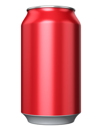 nonalcoholic beer: Red color metal aluminum tin drink can isolated on white background Stock Photo