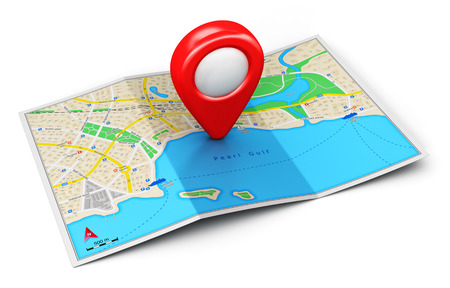 Creative abstract GPS satellite navigation, travel, tourism and location route planning business concept: color city map with red destination pointer marker icon isolated on white background Stock Photo