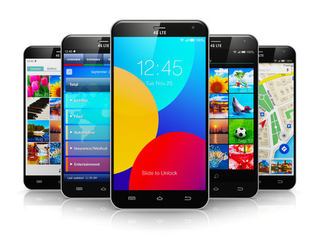 Creative abstract mobile phone wireless communication technology and mobility business office concept: group of modern metal black glossy touchscreen smartphones with colorful application interfaces with color icons and buttons isolated on white backgroun photo
