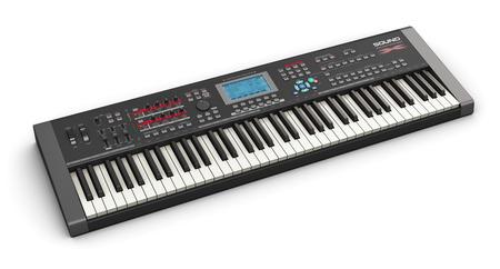 Creatieve abstracte elektronische muziek instrument en kunst creatie concept: zwarte professionele digitale muzikale piano synthesizer op een witte achtergrond