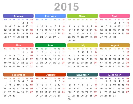 january 1st: Color vector illustration of 2015 year annual calendar (Monday first, English)