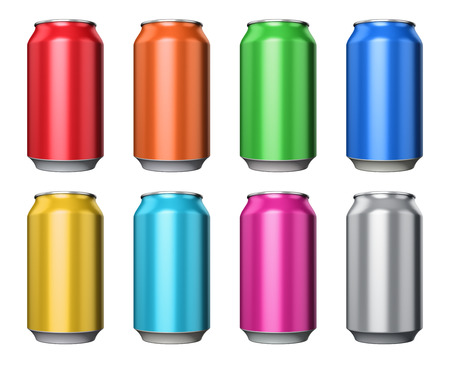 carbonated: Set of color metal aluminum tin drink cans isolated on white background