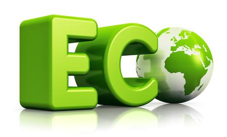Creatieve abstracte ecologie behoud, bescherming van het milieu en de natuur op te slaan business concept: 3D render illustratie van groene eco woord met Earth wereldbol kaart geïsoleerd op witte achtergrond met reflectie effect